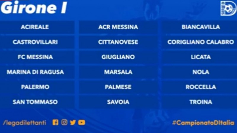 Serie D Girone D Calendario.Serie D Girone I 2019 2020 Ben Nove Siciliane La